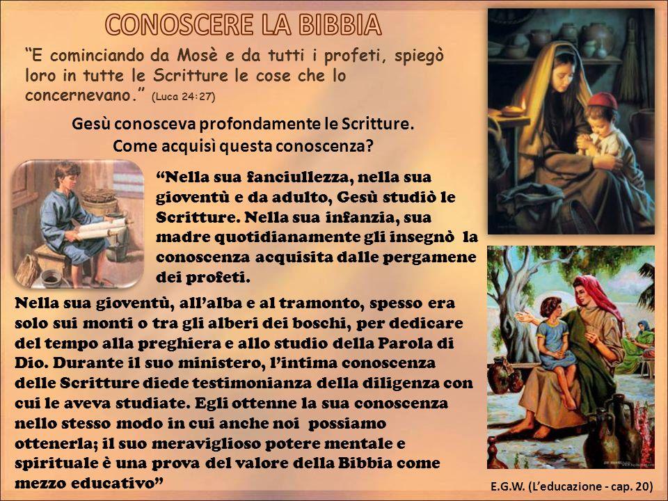 CONOSCERE LA BIBBIA Gesù conosceva profondamente le Scritture.