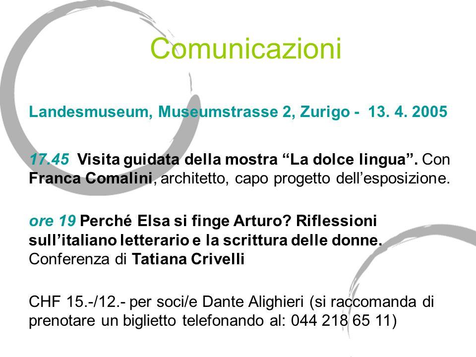 Comunicazioni Landesmuseum, Museumstrasse 2, Zurigo - 13. 4. 2005