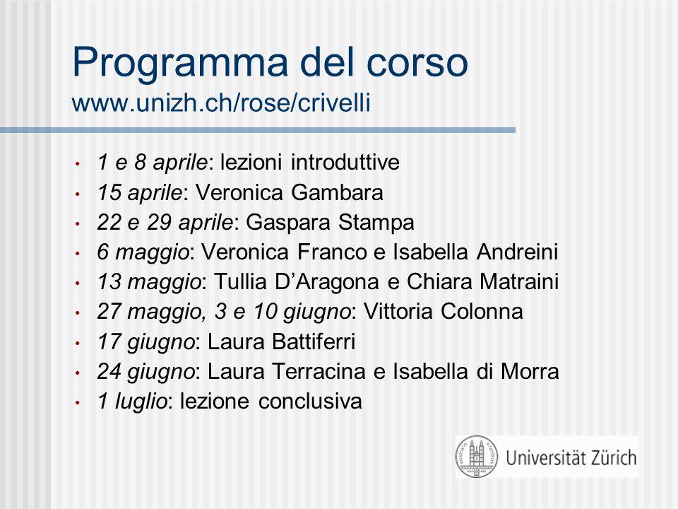 Programma del corso www.unizh.ch/rose/crivelli