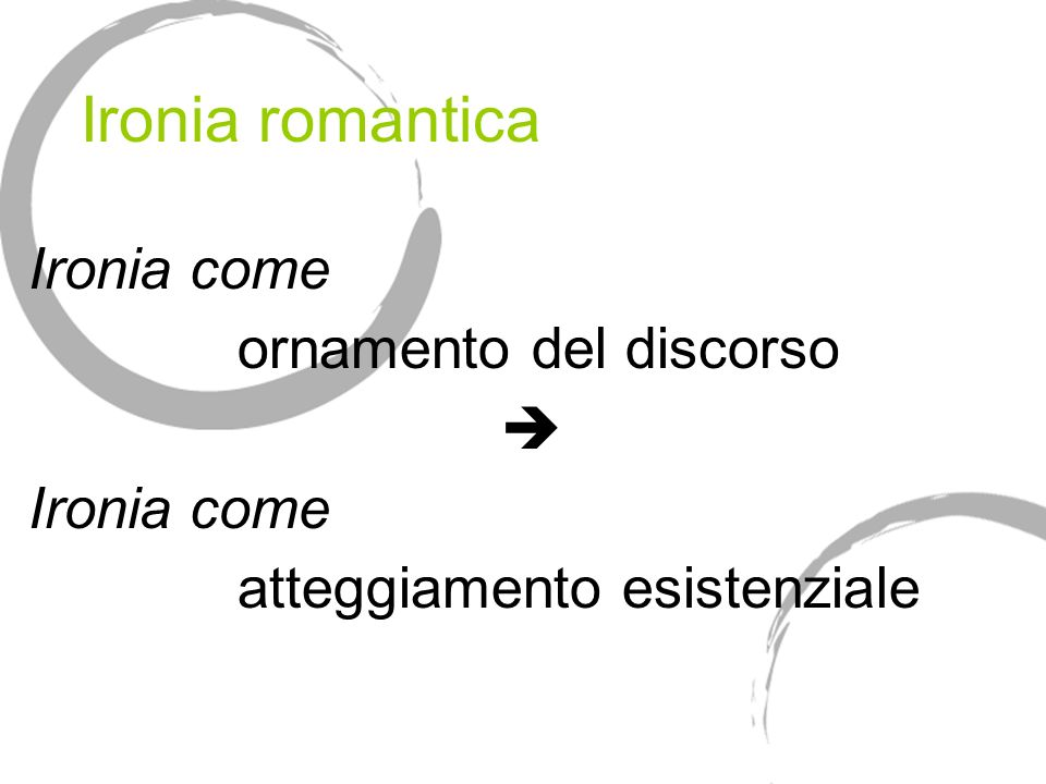Ironia romantica Ironia come ornamento del discorso 