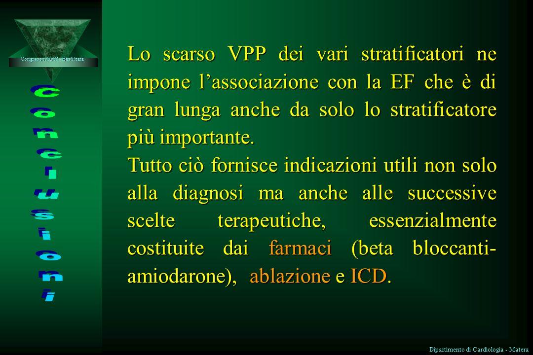 Lo scarso VPP dei vari stratificatori ne impone l'associazione con la EF che è di gran lunga anche da solo lo stratificatore più importante.