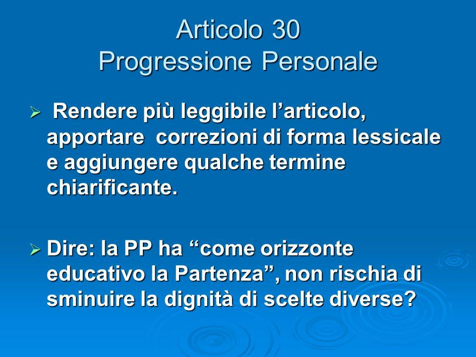 Articolo 30 Progressione Personale