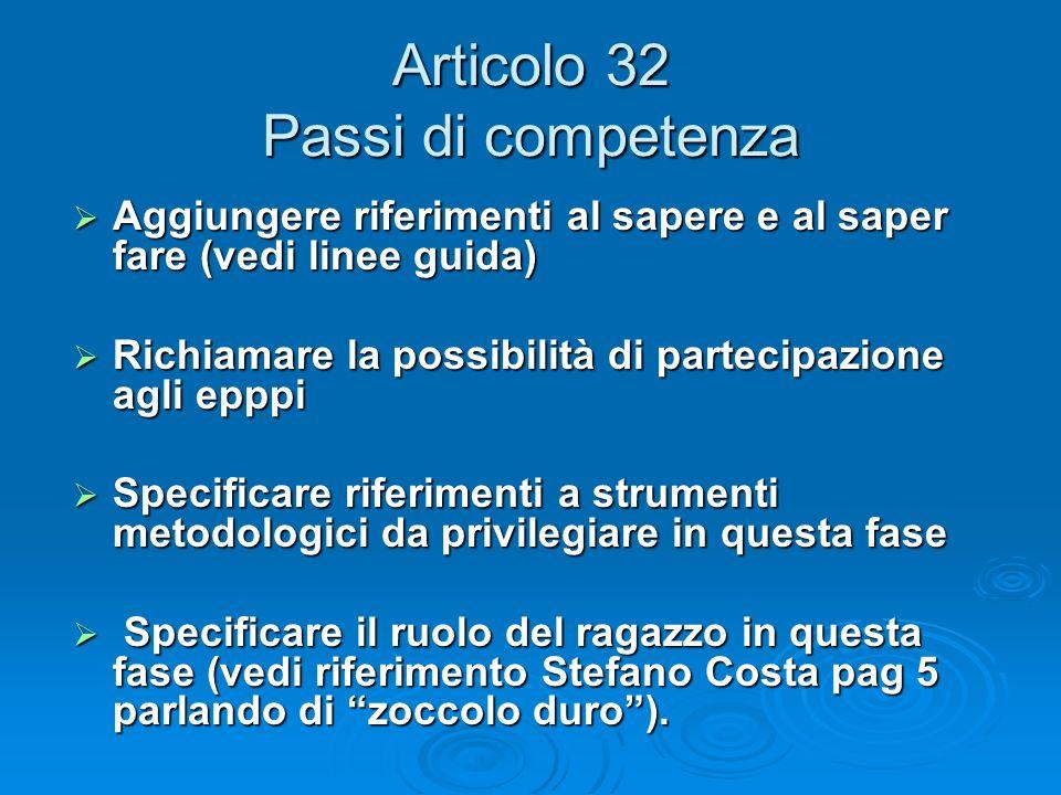 Articolo 32 Passi di competenza