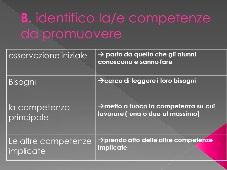 B. identifico la/e competenze da promuovere