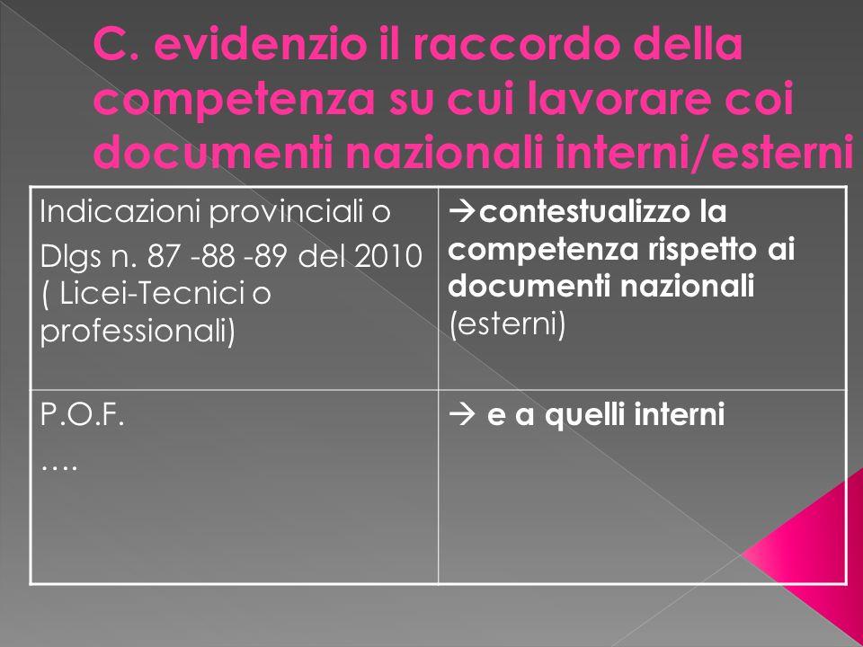 C. evidenzio il raccordo della competenza su cui lavorare coi documenti nazionali interni/esterni