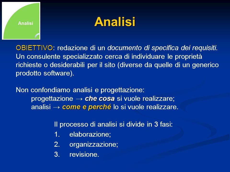 AnalisiOBIETTIVO: redazione di un documento di specifica dei requisiti. Un consulente specializzato cerca di individuare le proprietà.