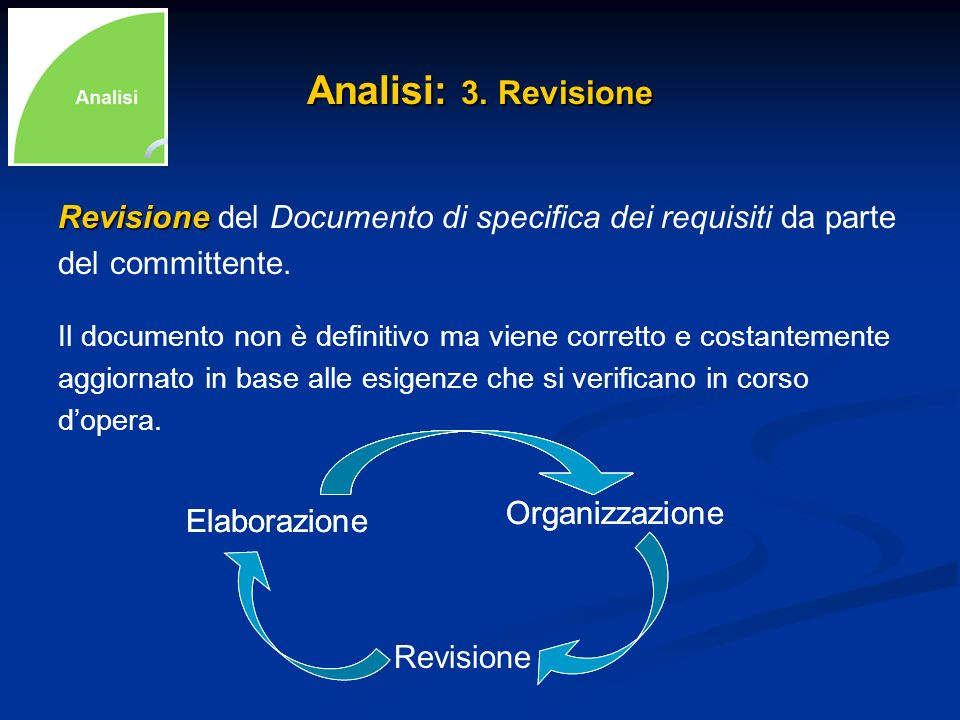 Analisi: 3. Revisione Revisione del Documento di specifica dei requisiti da parte. del committente.