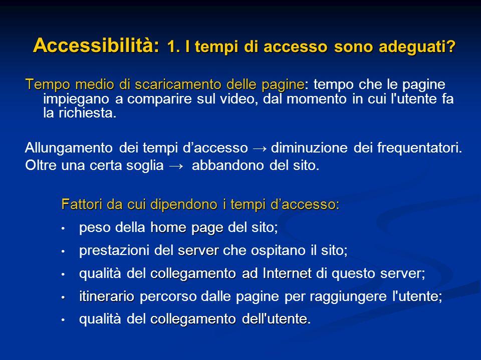 Accessibilità: 1. I tempi di accesso sono adeguati