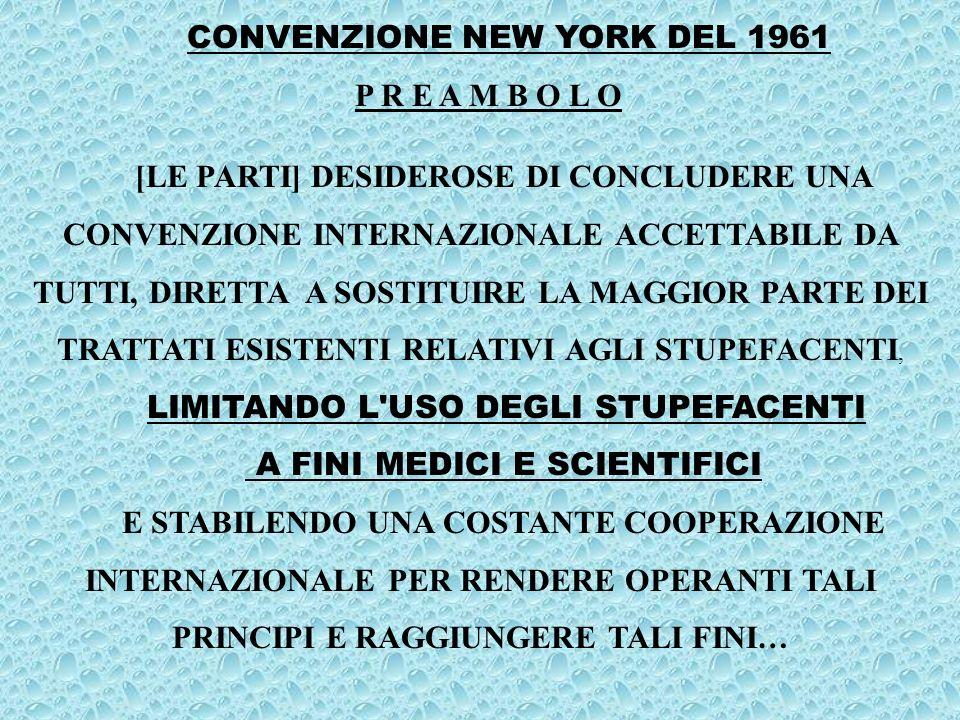 CONVENZIONE NEW YORK DEL 1961 P R E A M B O L O