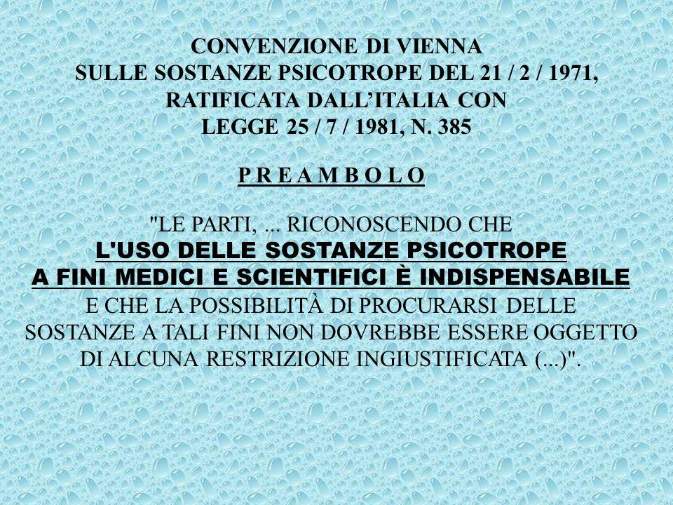 SULLE SOSTANZE PSICOTROPE DEL 21 / 2 / 1971,