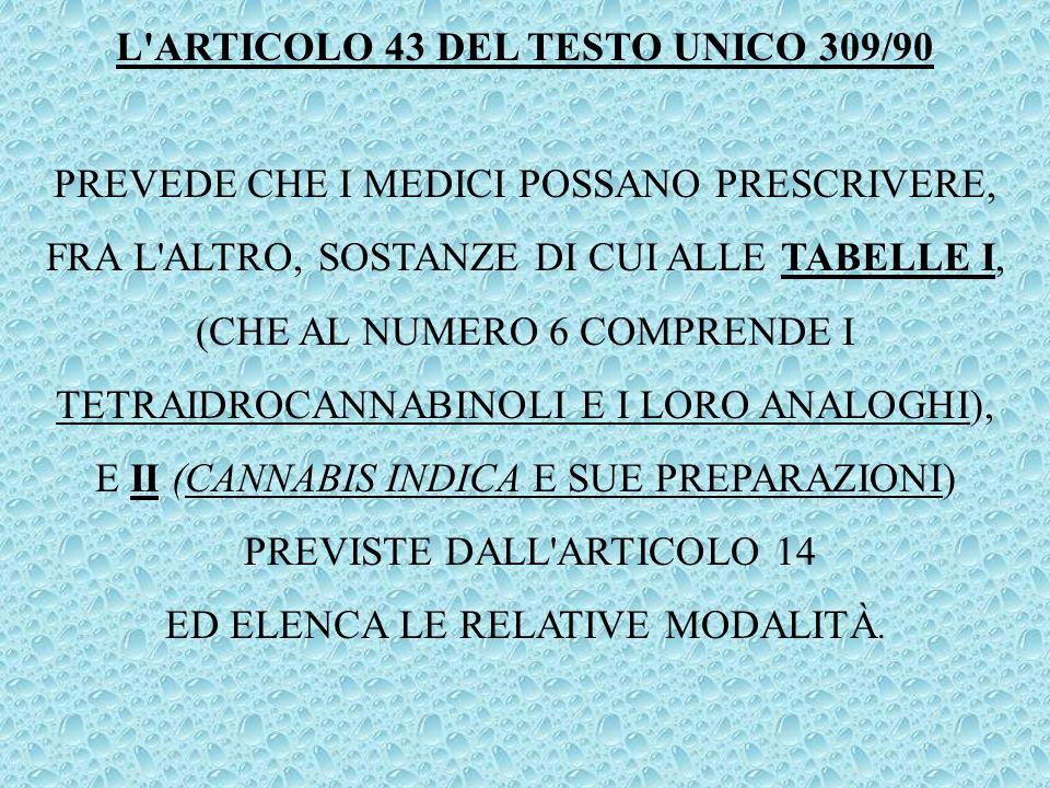 L ARTICOLO 43 DEL TESTO UNICO 309/90