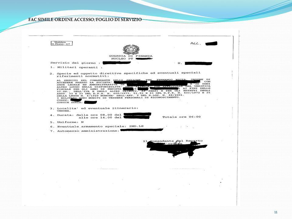 FAC SIMILE ORDINE ACCESSO/FOGLIO DI SERVIZIO
