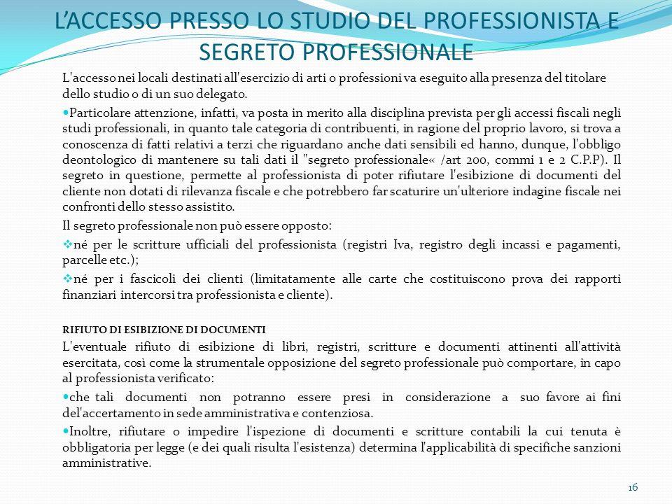 L'ACCESSO PRESSO LO STUDIO DEL PROFESSIONISTA E SEGRETO PROFESSIONALE