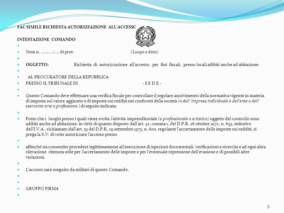 FAC SIMILE RICHIESTA AUTORIZZAZIONE ALL ACCESSO