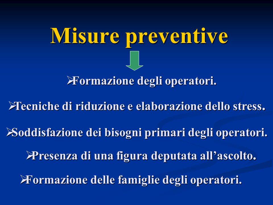Misure preventive Formazione degli operatori.