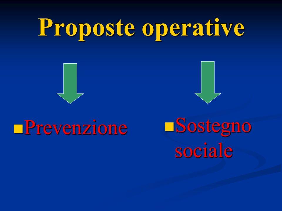 Proposte operative Sostegno sociale Prevenzione