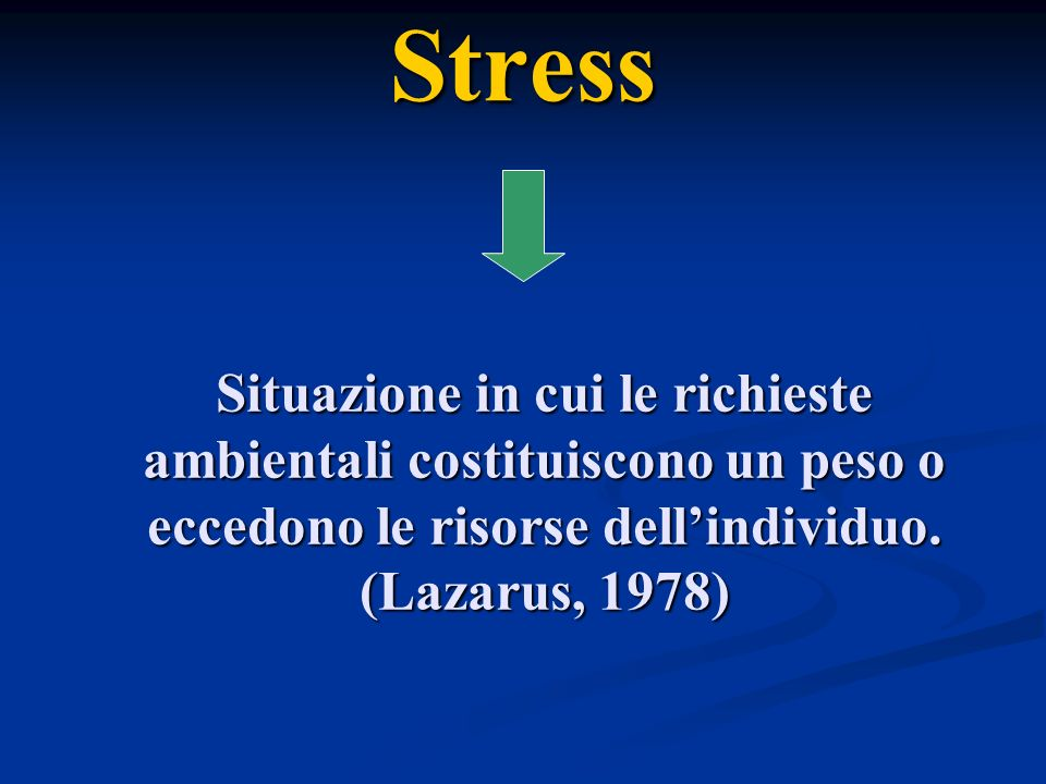 Stress Situazione in cui le richieste ambientali costituiscono un peso o eccedono le risorse dell'individuo. (Lazarus, 1978)