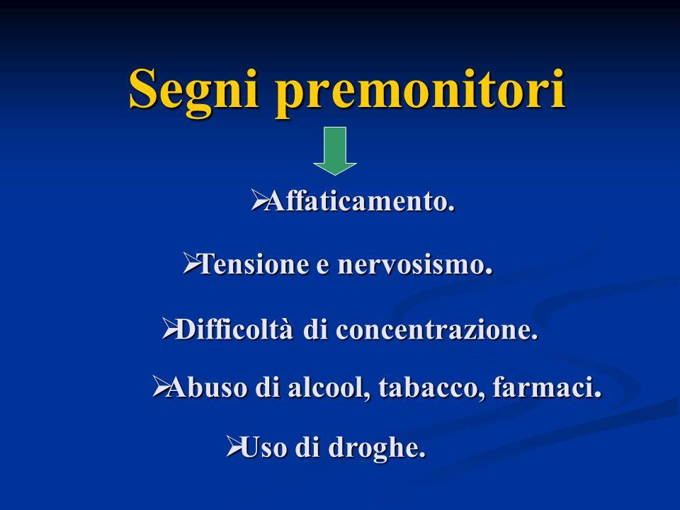 Difficoltà di concentrazione. Abuso di alcool, tabacco, farmaci.