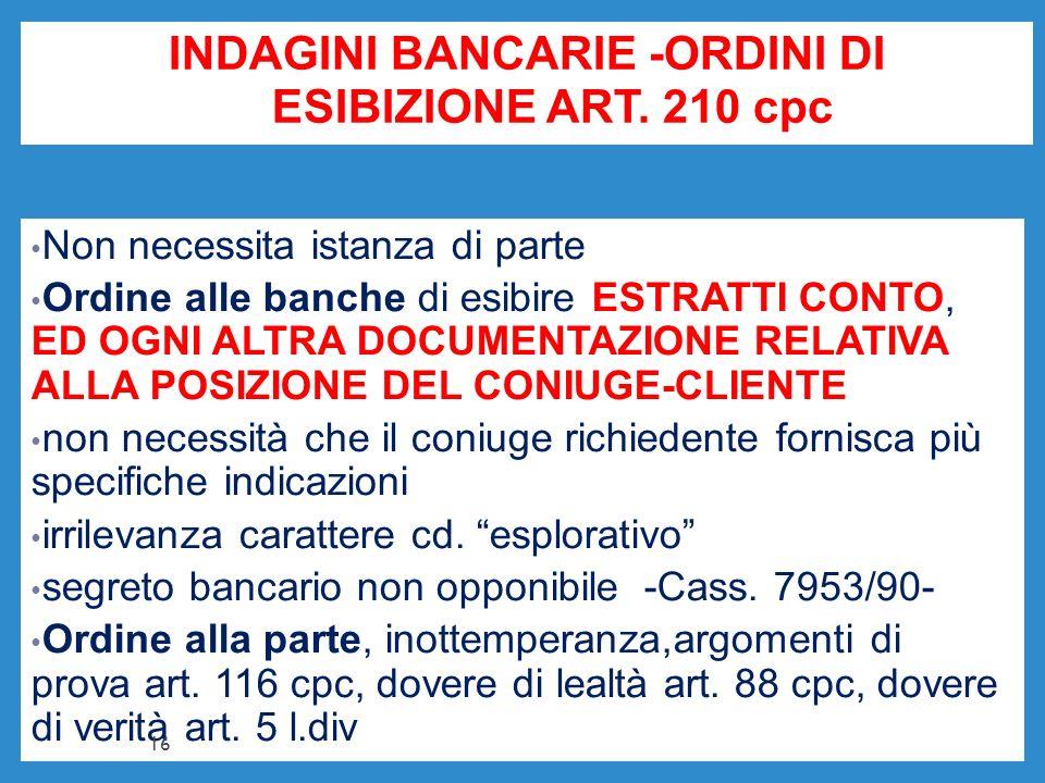 INDAGINI BANCARIE -ORDINI DI ESIBIZIONE ART. 210 cpc