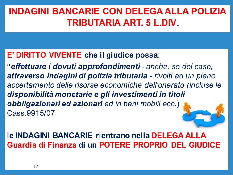 INDAGINI BANCARIE CON DELEGA ALLA POLIZIA TRIBUTARIA ART. 5 L.DIV.