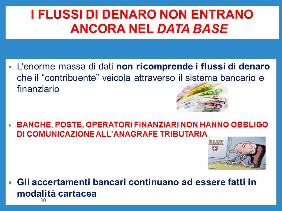 I FLUSSI DI DENARO NON ENTRANO ANCORA NEL DATA BASE