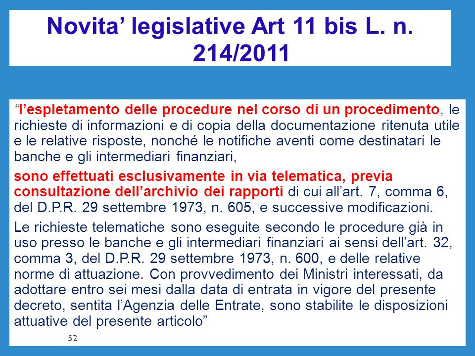 Novita' legislative Art 11 bis L. n. 214/2011