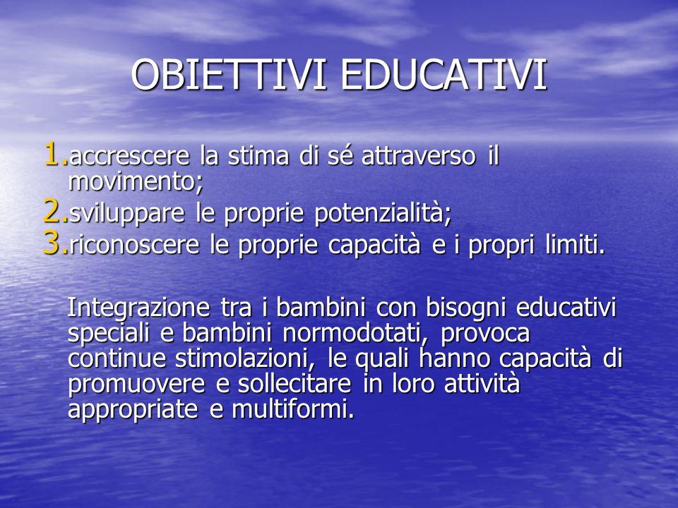 OBIETTIVI EDUCATIVI accrescere la stima di sé attraverso il movimento;