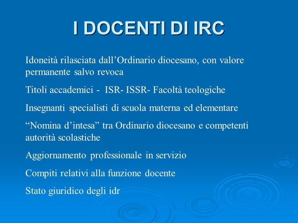 I DOCENTI DI IRC Idoneità rilasciata dall'Ordinario diocesano, con valore permanente salvo revoca.