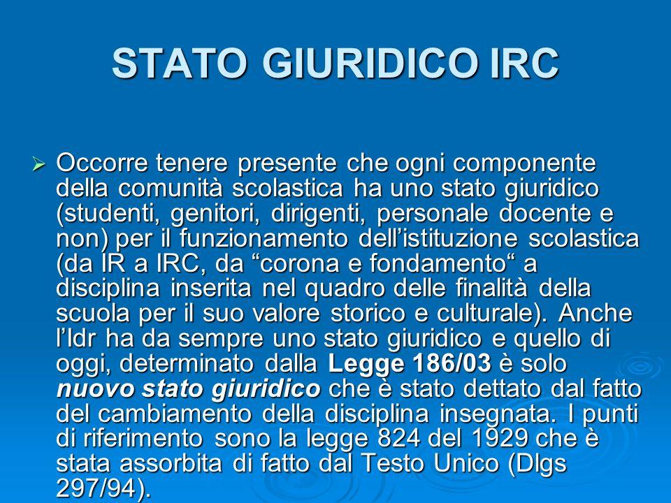 STATO GIURIDICO IRC