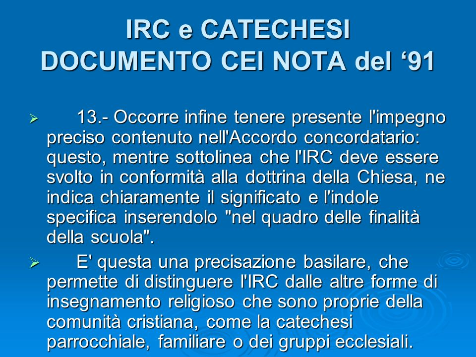 IRC e CATECHESI DOCUMENTO CEI NOTA del '91