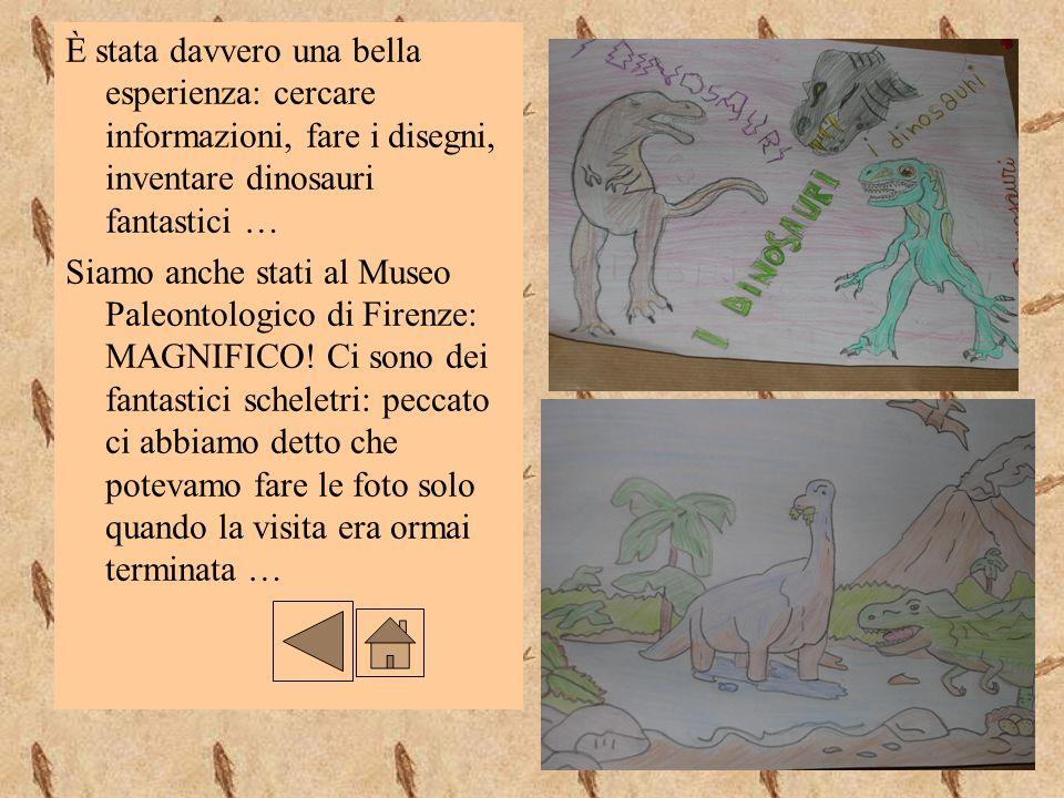È stata davvero una bella esperienza: cercare informazioni, fare i disegni, inventare dinosauri fantastici …