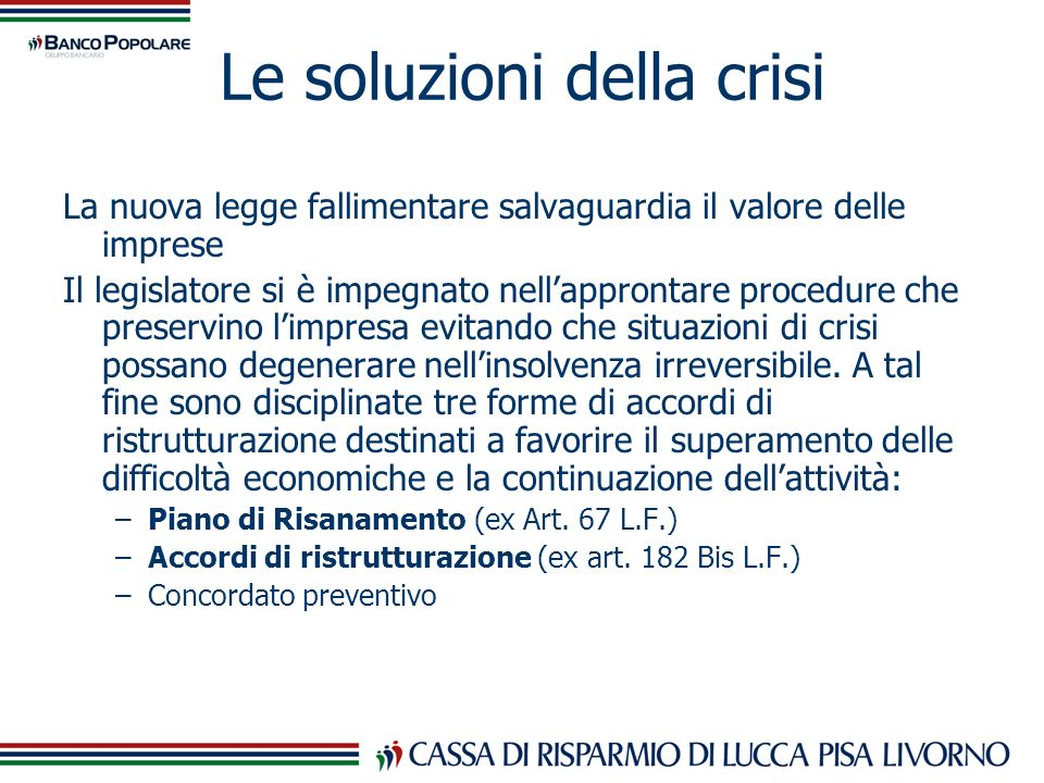 Le soluzioni della crisi