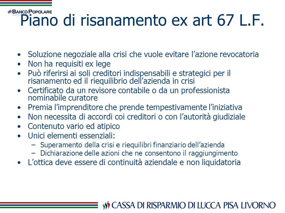 Piano di risanamento ex art 67 L.F.