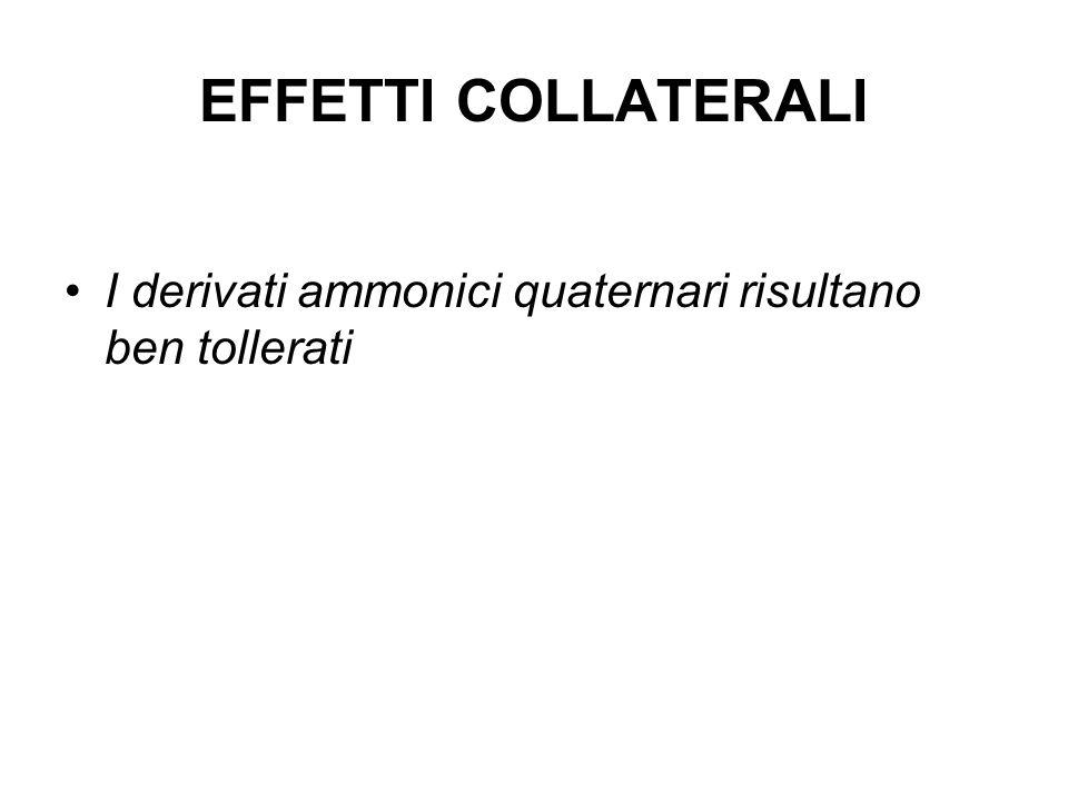 EFFETTI COLLATERALI I derivati ammonici quaternari risultano ben tollerati