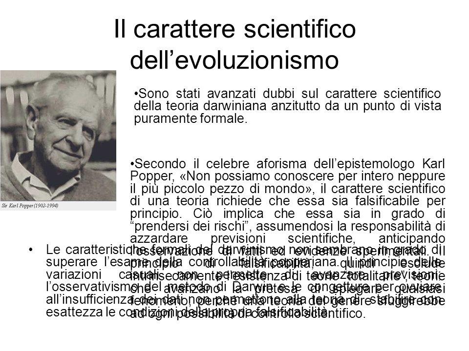 Il carattere scientifico dell'evoluzionismo