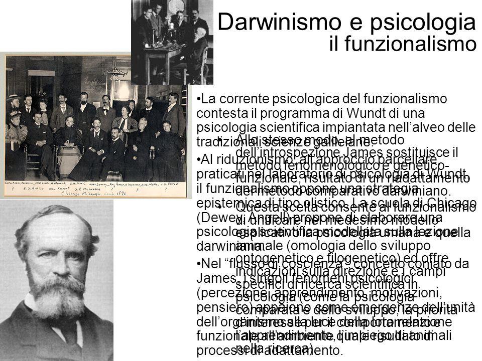 Darwinismo e psicologia il funzionalismo