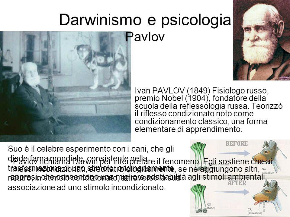 Darwinismo e psicologia Pavlov