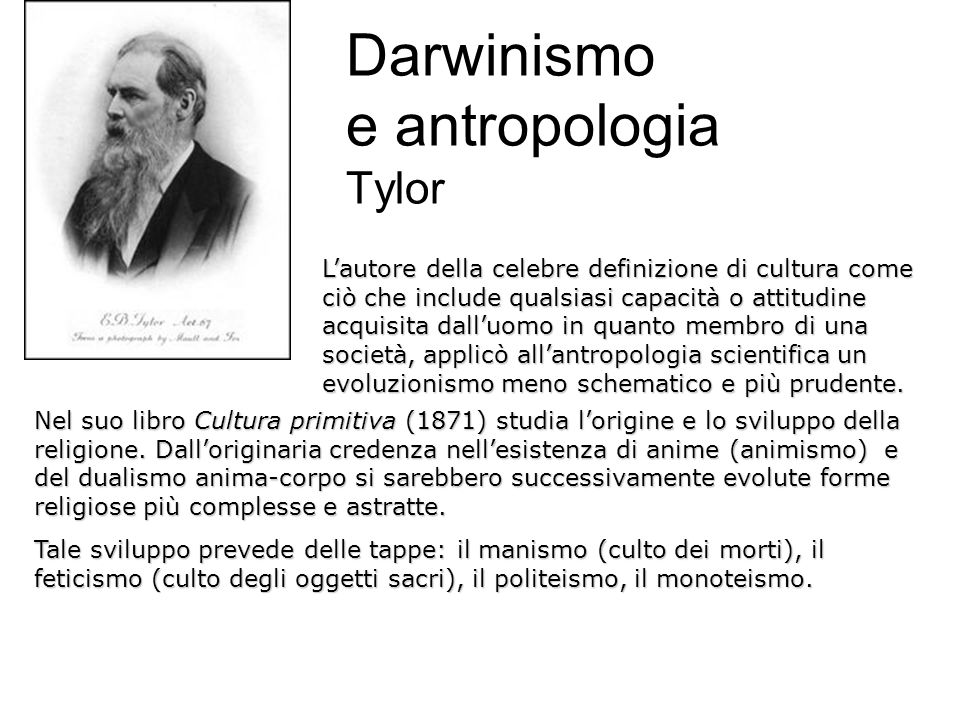 Darwinismo e antropologia Tylor
