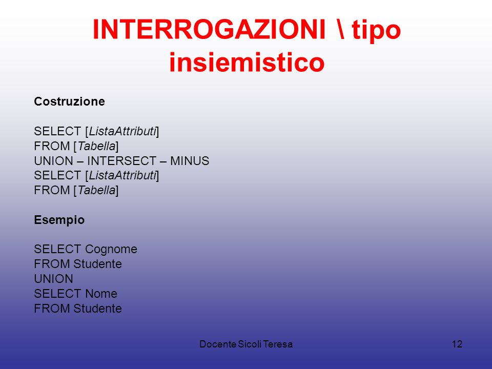 INTERROGAZIONI \ tipo insiemistico
