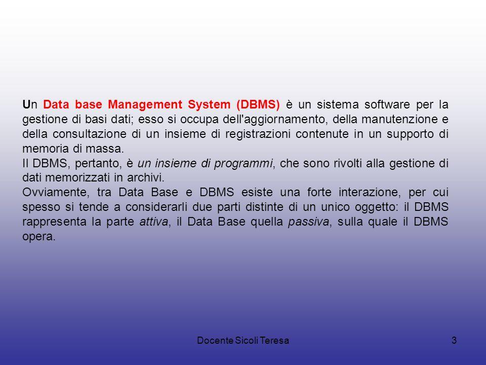 Un Data base Management System (DBMS) è un sistema software per la gestione di basi dati; esso si occupa dell aggiornamento, della manutenzione e della consultazione di un insieme di registrazioni contenute in un supporto di memoria di massa.