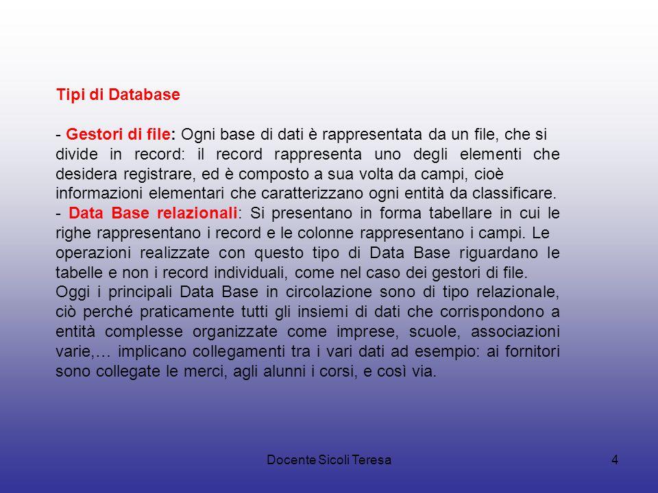 Tipi di Database - Gestori di file: Ogni base di dati è rappresentata da un file, che si.