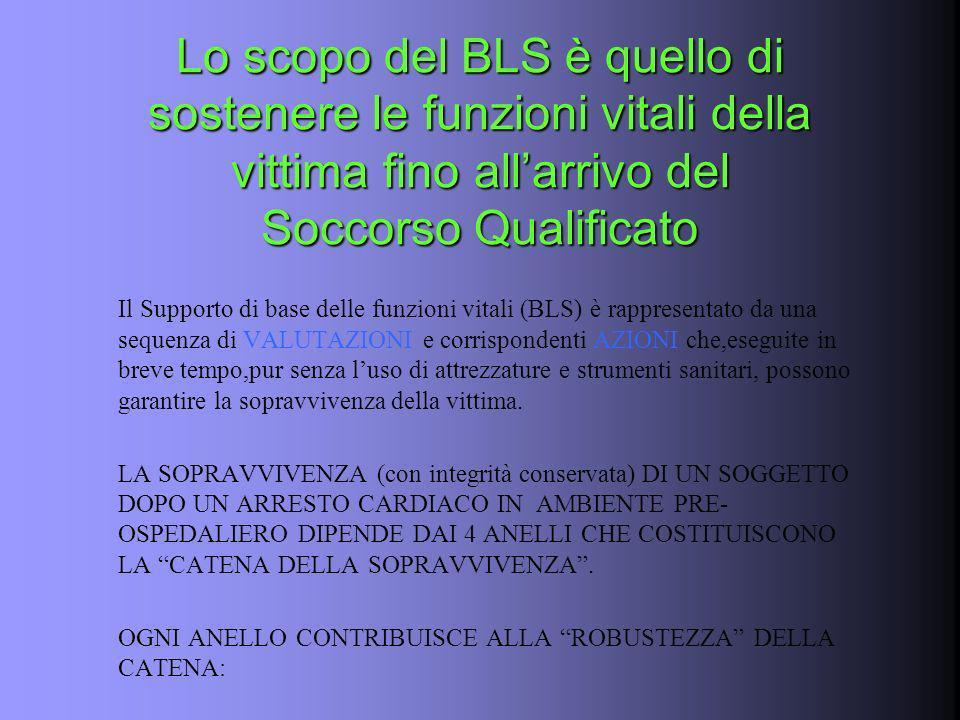 Lo scopo del BLS è quello di sostenere le funzioni vitali della vittima fino all'arrivo del Soccorso Qualificato