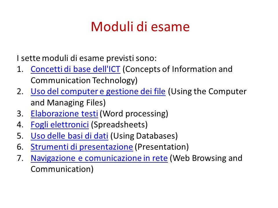 Moduli di esame I sette moduli di esame previsti sono: