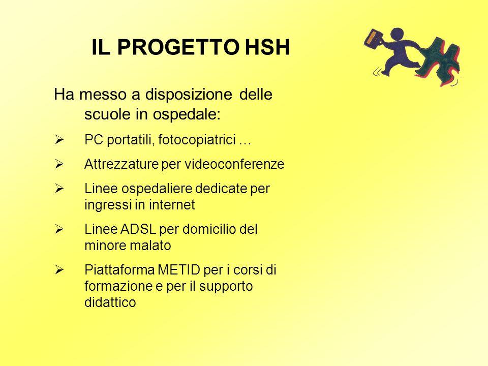 IL PROGETTO HSH Ha messo a disposizione delle scuole in ospedale: