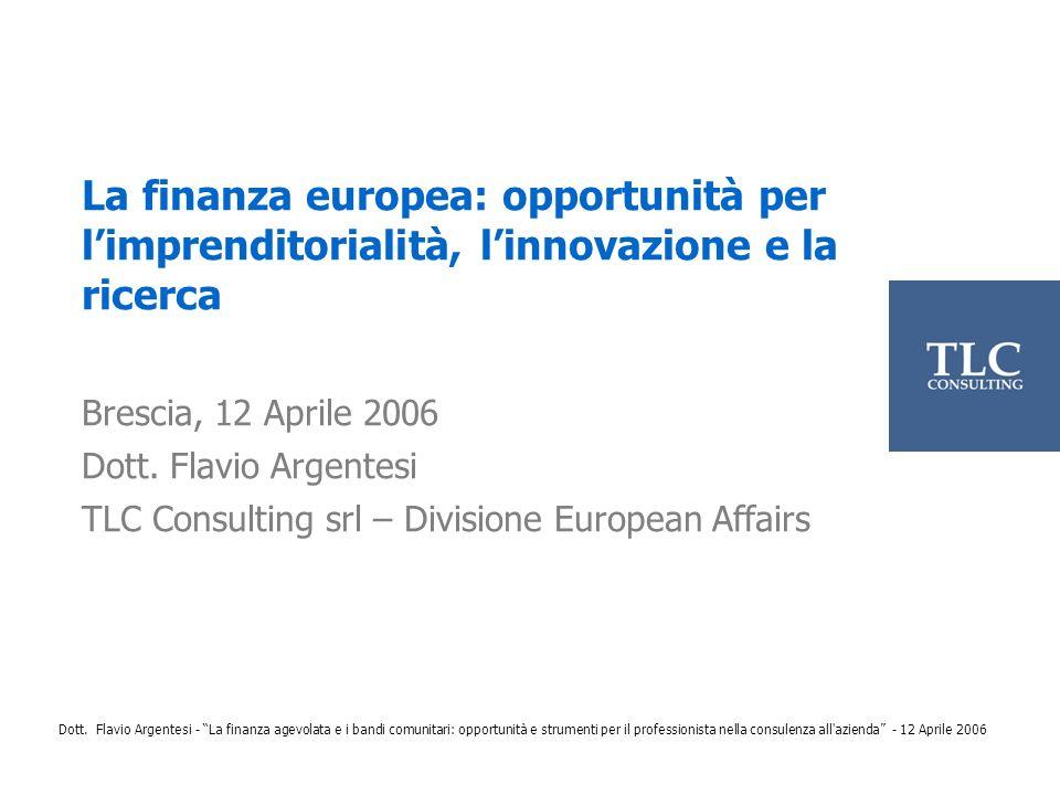 La finanza europea: opportunità per l'imprenditorialità, l'innovazione e la ricerca