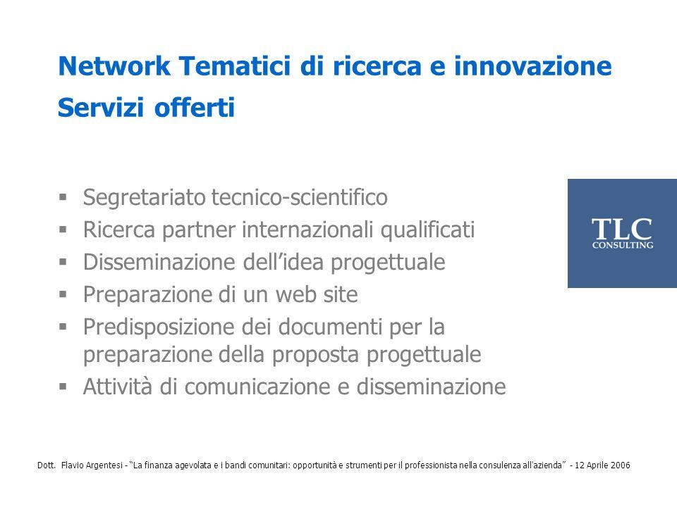 Network Tematici di ricerca e innovazione Servizi offerti