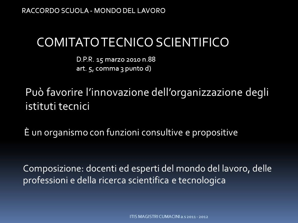 COMITATO TECNICO SCIENTIFICO
