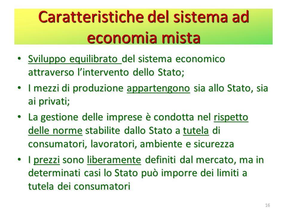 Caratteristiche del sistema ad economia mista