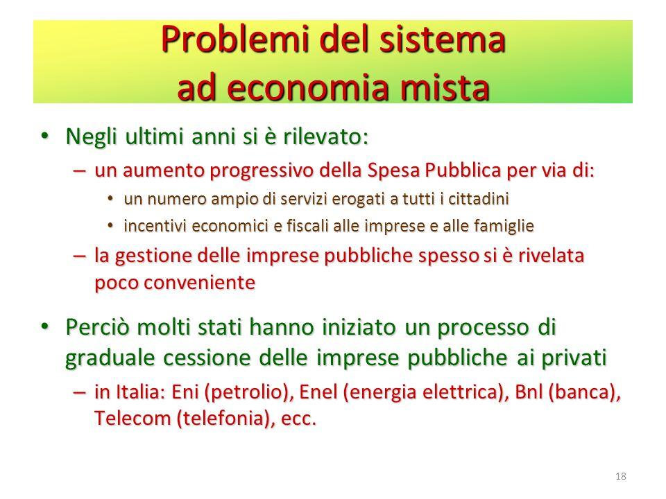 Problemi del sistema ad economia mista