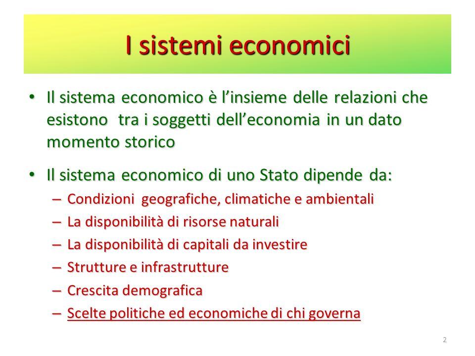 I sistemi economici Il sistema economico è l'insieme delle relazioni che esistono tra i soggetti dell'economia in un dato momento storico.